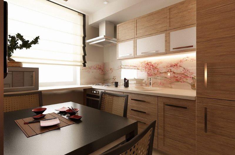 Стеклянный фартук в кухне восточного стиля