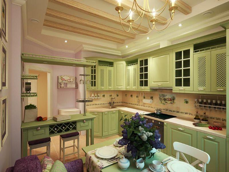 Кухня в стиле прованс с гарнитуром из крашеного дерева