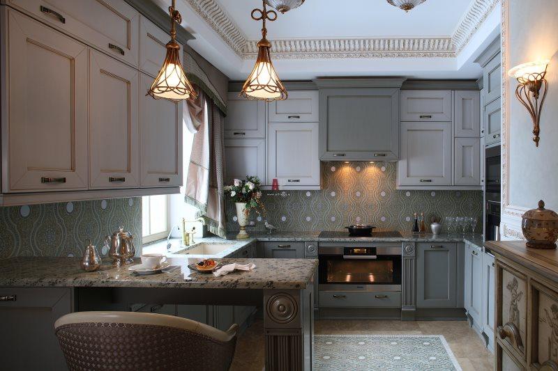 Серая кухня в английском стиле