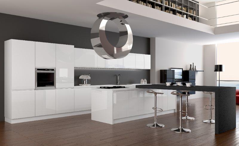 Дизайн кухни в стиле хай-тек с белым гарнитуром