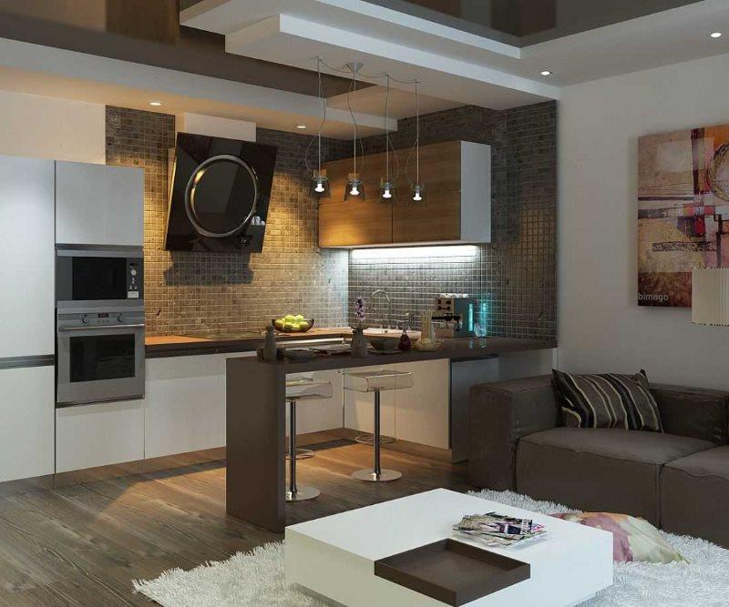 Дизайн кухни-гостиной в серых тонах с барной стойкой
