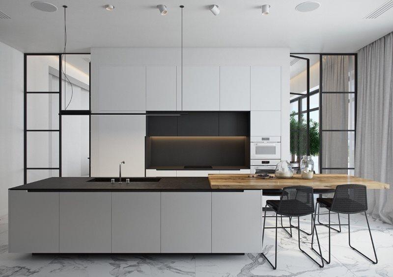 Кухонный остров с серыми фасадами в кухне загородного дома