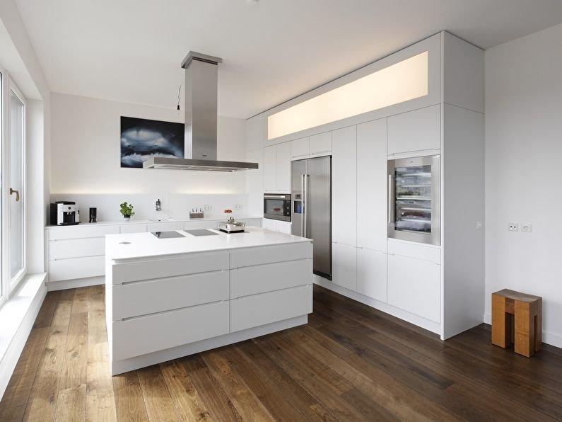 Угловая кухня с островом в стиле минимализма
