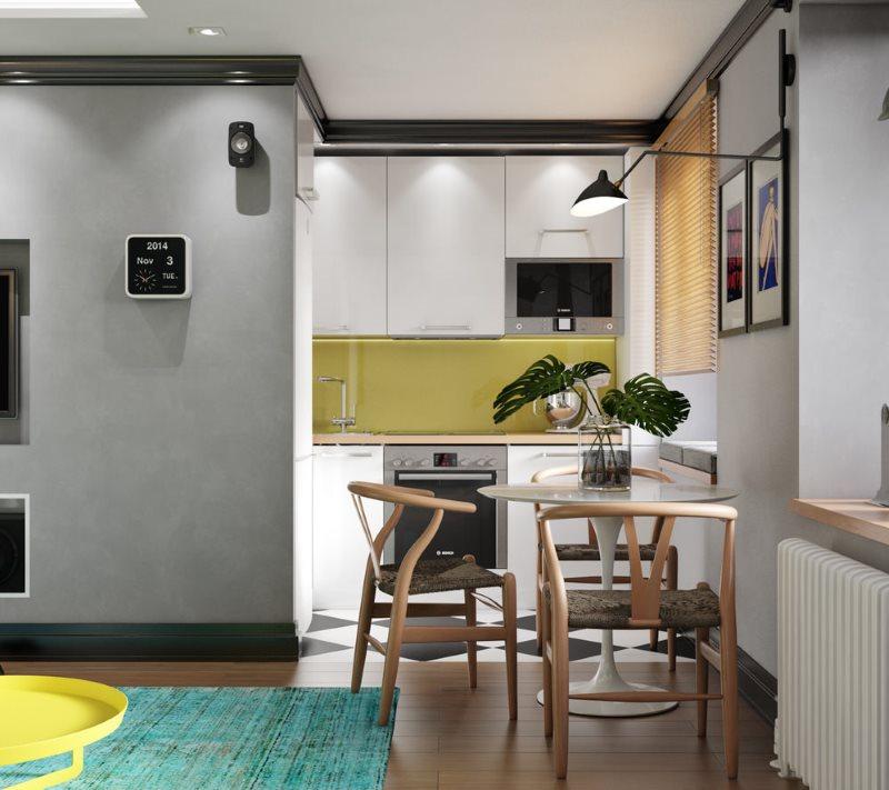 Серые стены в тон кухонного гарнитура