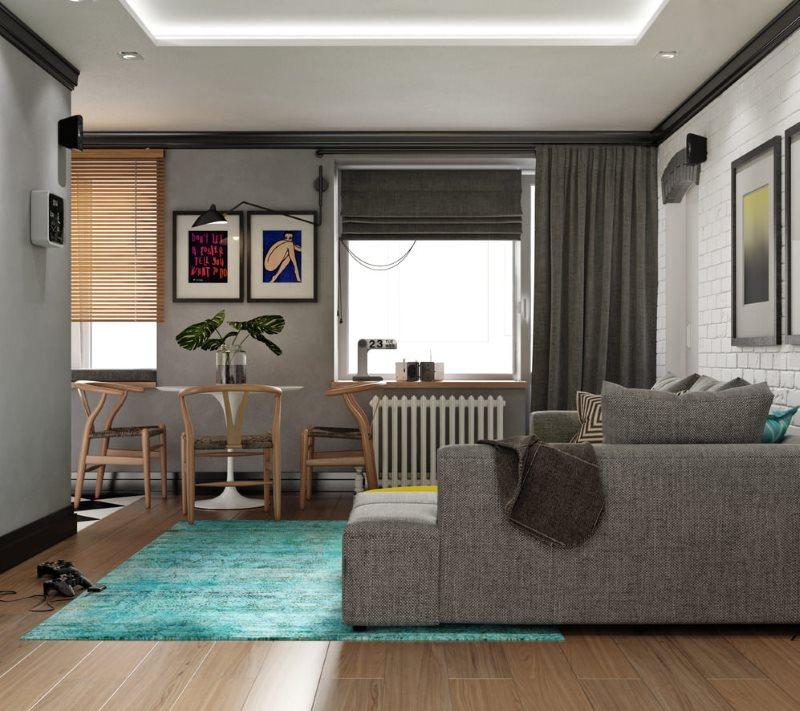 Бирюзовый ковер на деревянном полу гостиной