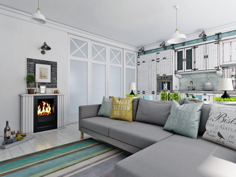 Угловой диван серого цвета в кухне-гостиной 19 кв метров