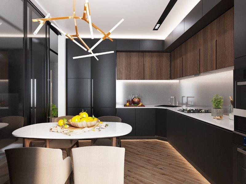 Подсветка серого фартука в кухне с угловым гарнитуром
