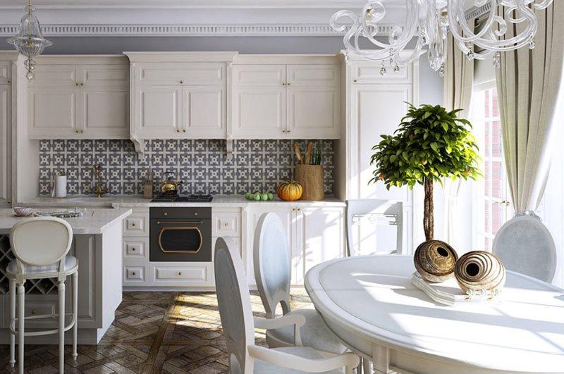 Серый орнамент на кухонном фартуке