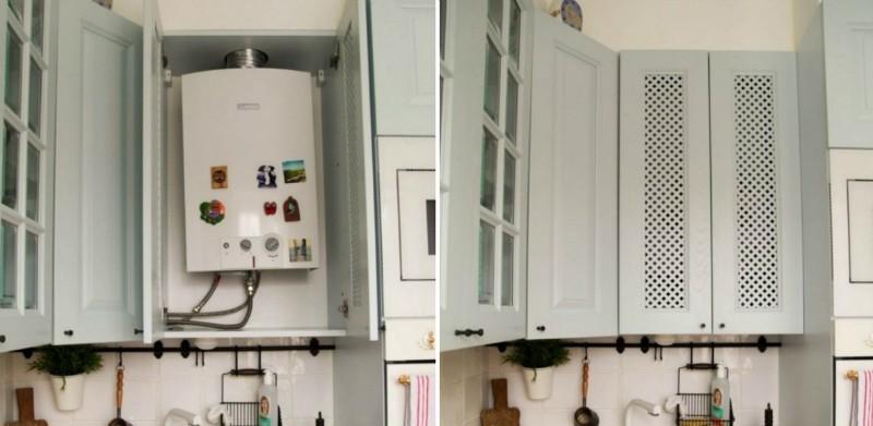 Маскировка газовой колонки с помощью шкафчика с решетчатыми дверцами