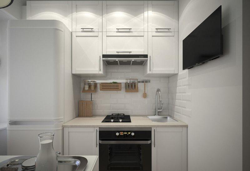 Линейная кухня в хрущевке с высокими шкафами