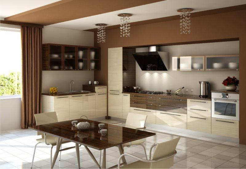 Кухонный стол с шоколадной поверхностью