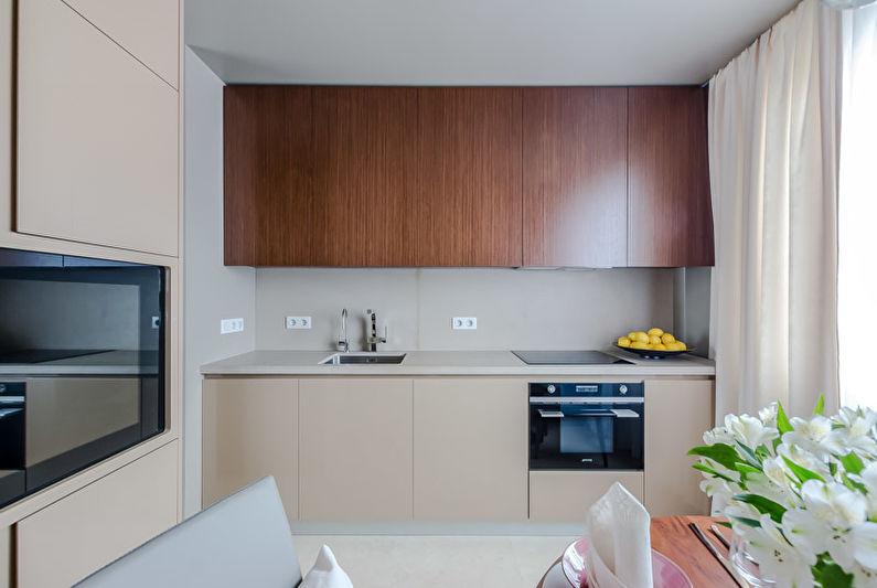 Светлая занавеска на кухне с прямым гарнитуром