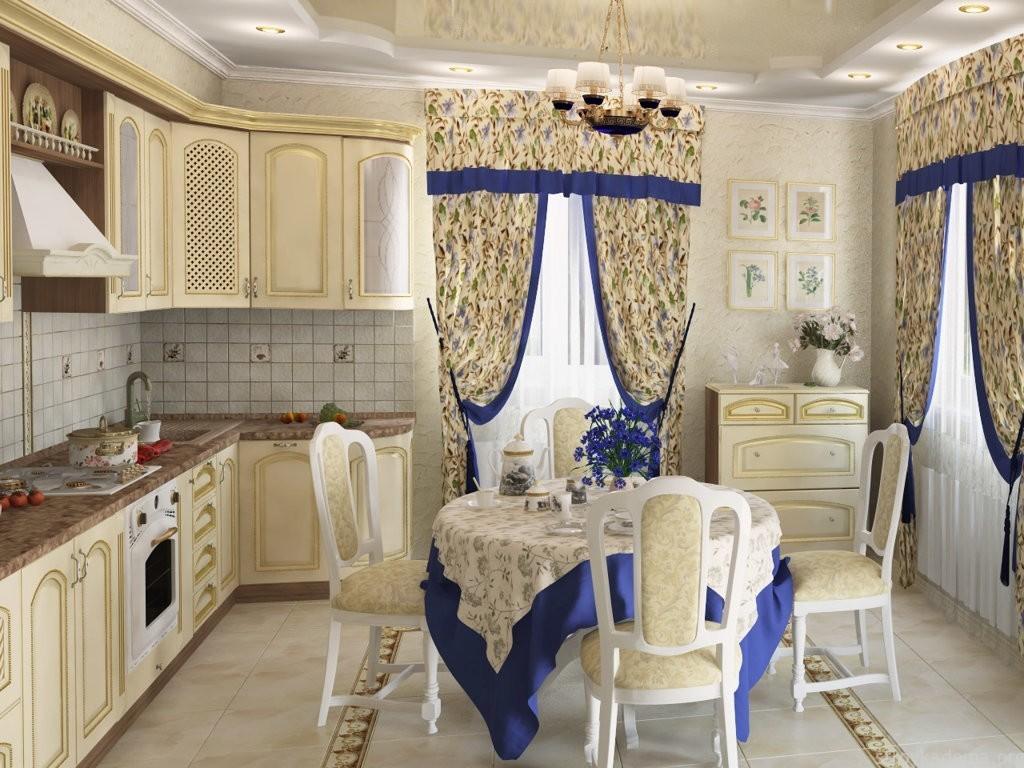Текстиль в интерьере классической кухни
