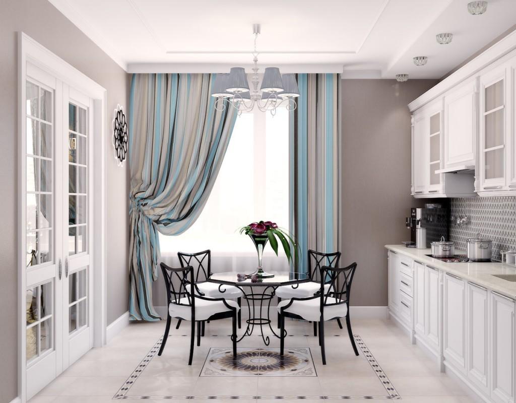 Дизайн классической кухни с полосатыми шторами