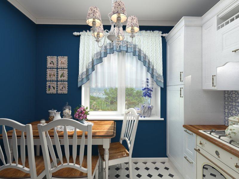 Дизайн кухни стиля прованс с синими стенами