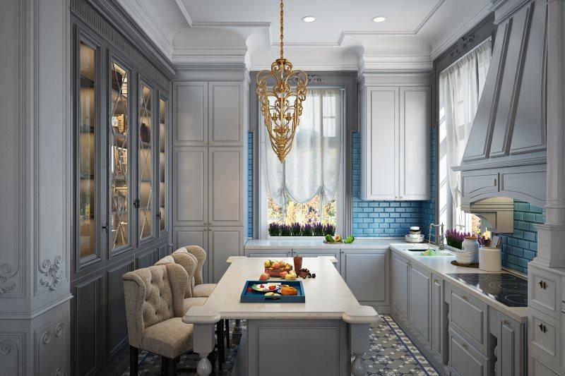 Синий фартук из плитки в кухне стиля неоклассика