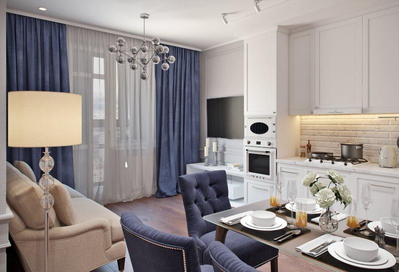 Синий шторы в интерьере классической кухни-гостиной