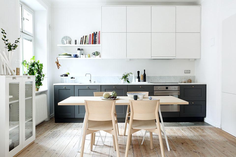 Линейная кухня в скандинавском стиле