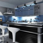 Черно-синяя кухня в стиле хай-тек