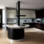 Круглый остров в современной кухне
