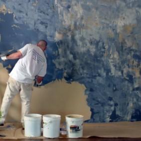 Дизайнерский способ декоративной окраски стен