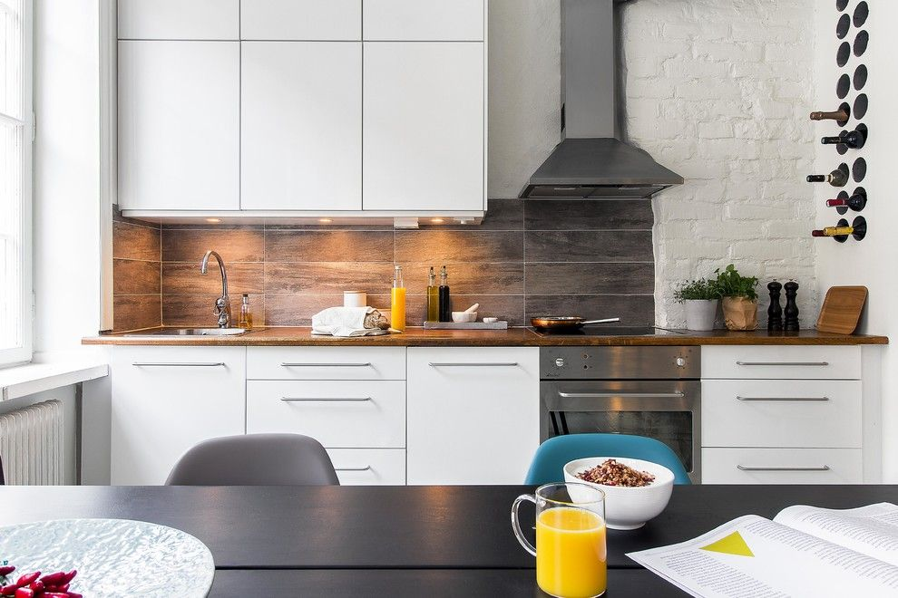 Линейная планировка кухни в скандинавском стиле