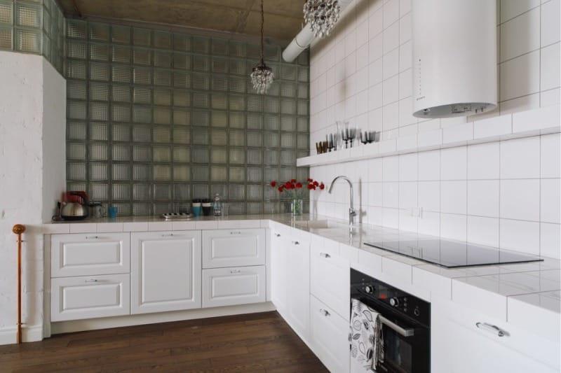 Стеклоблоки в интерьере кухни стиля лофт