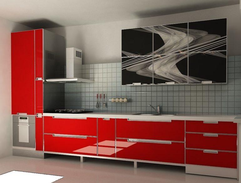 Красно-черный гарнитур с фасадами из закаленного стекла