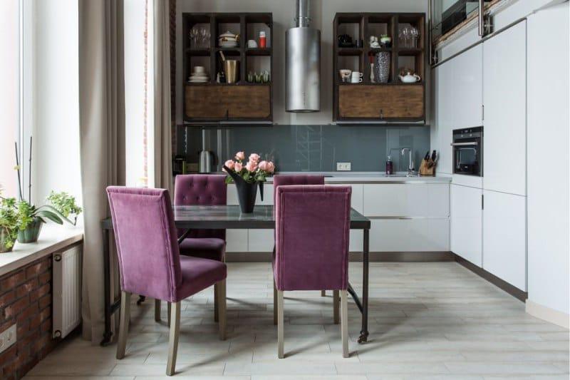 Контрастные фактуры в интерьере кухни стиля лофт