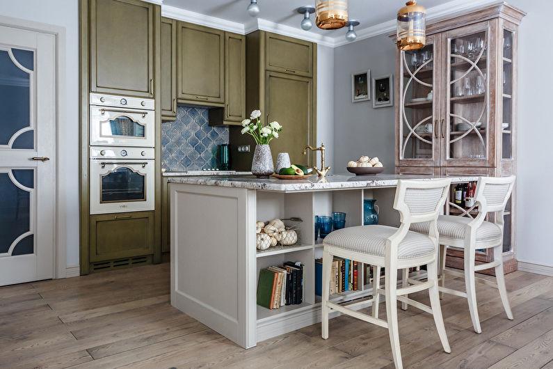Встроенная техника в кухне неоклассического стиля