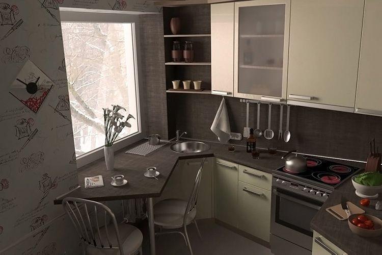 Стол вместо подоконника в кухне хрущевки