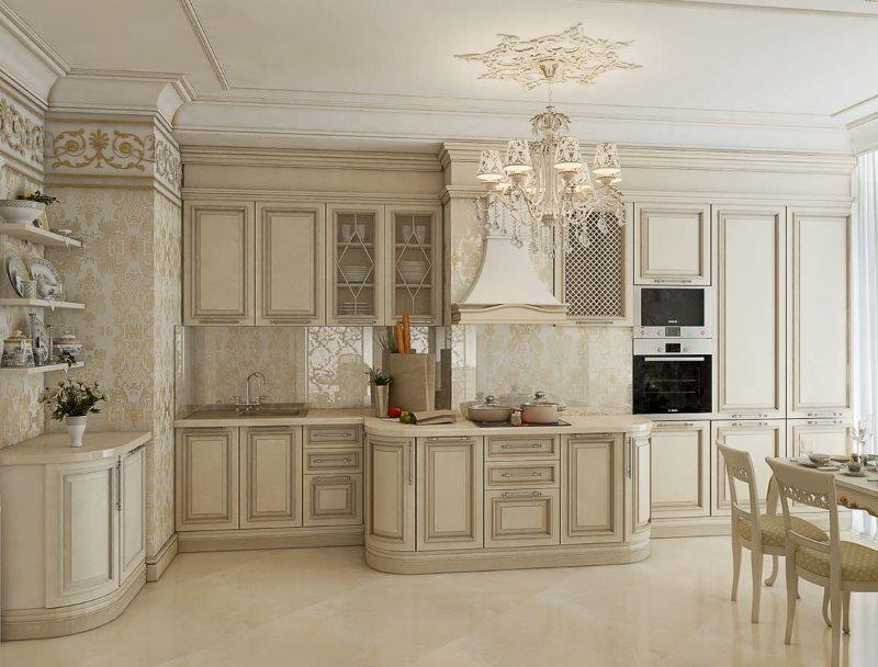 Светлая кухня угловой планировки в стиле классика