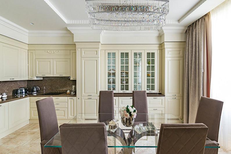 Светлая кухня в стиле неоклассики с угловым гарнитуром