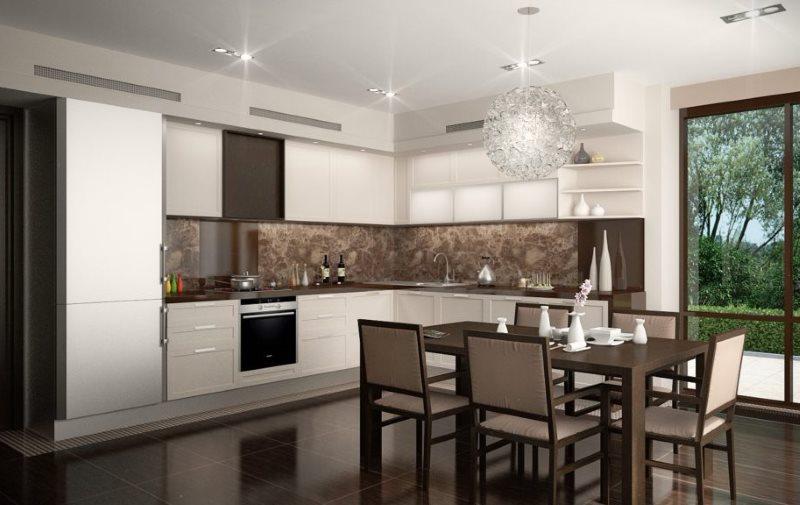 Дизайн кухни в шоколадно-бежевом цвете