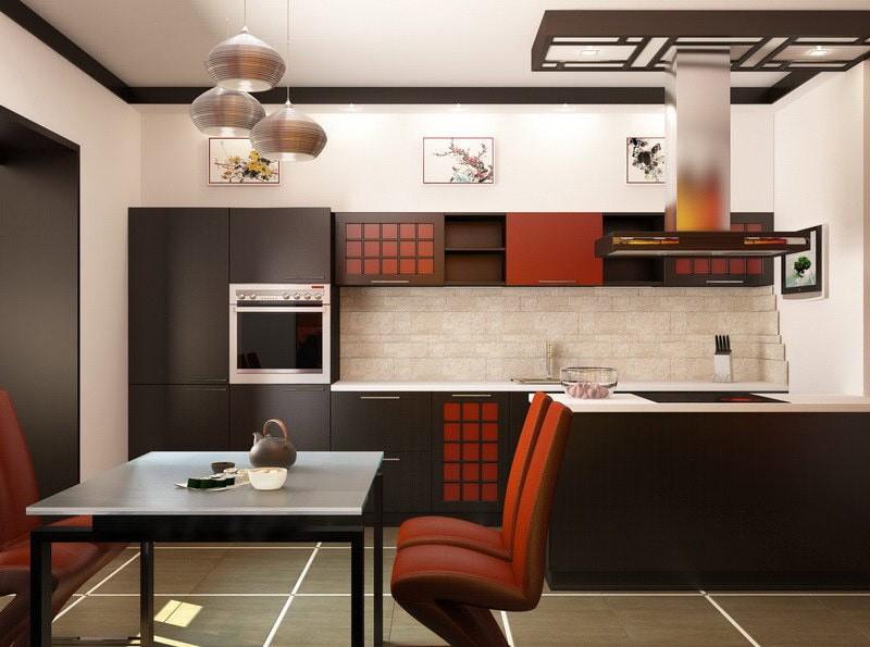 Светлые стены кухни в восточном стиле