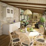 Дизайн летней кухни в светлых оттенках