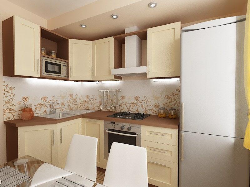 Точечные светильники на потолке маленькой кухни