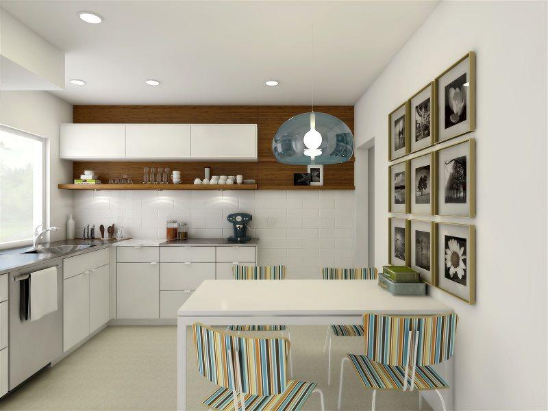 Обеденный стол в кухне с угловым гарнитуром
