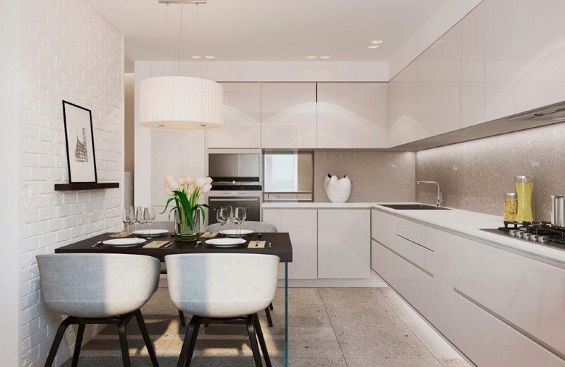 Угловая кухня 9 кв м в стиле минимализма