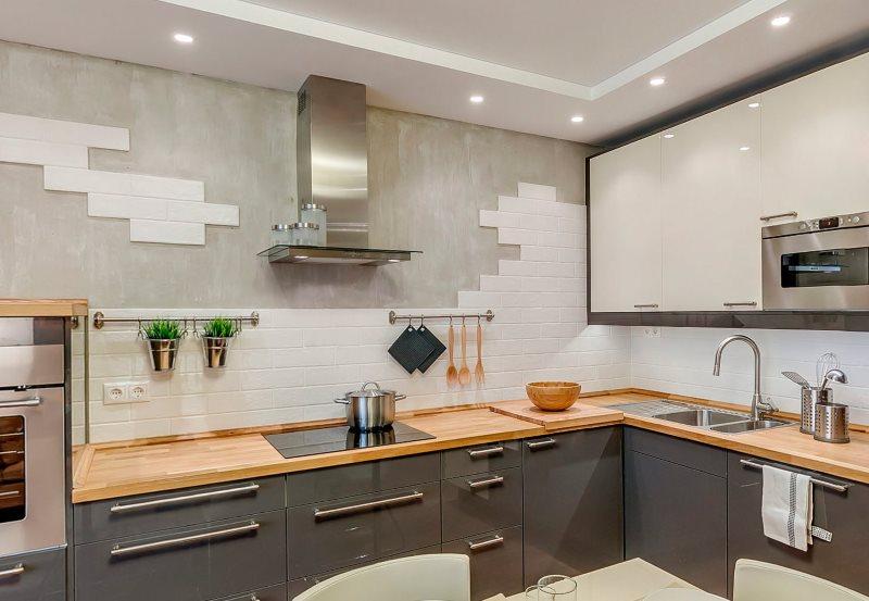 Угловой гарнитур в кухне площадью 9 кв метров