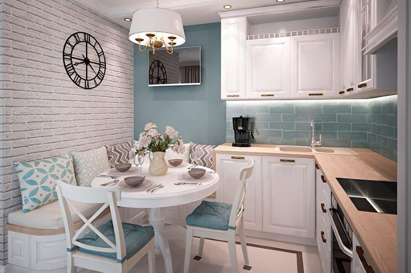 Мебель угловой конфигурации в интерьере кухни 9 квадратов