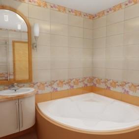 Отделка стен ванной керамической плиткой прямоугольной формы
