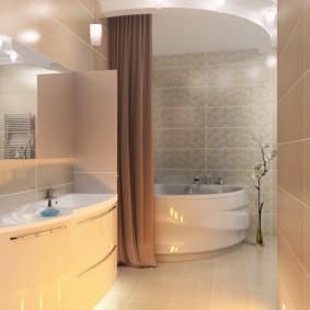 Коричневая штора в интерьере ванной