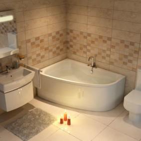 Серый коврик перед умывальником в ванной городской квартиры