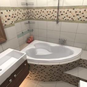 Дизайн ванной комнаты с кафельной мозаикой