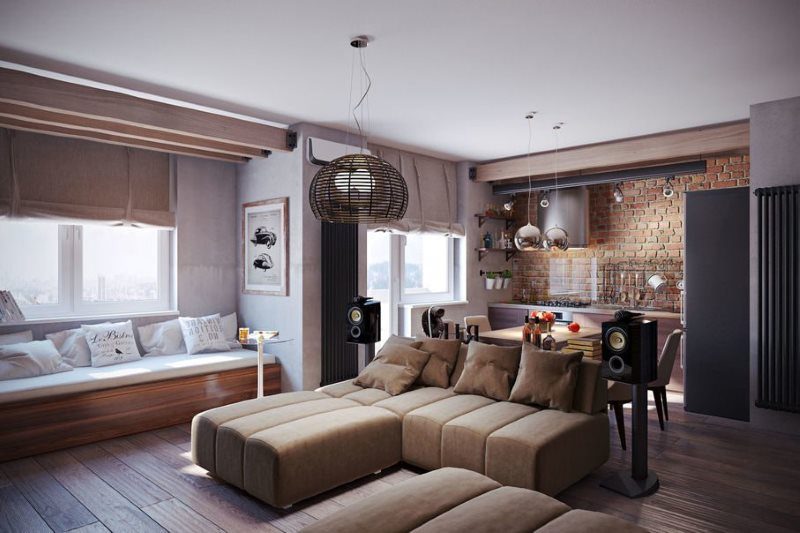 Интерьер просторной кухни-гостиной в стиле эко-лофт