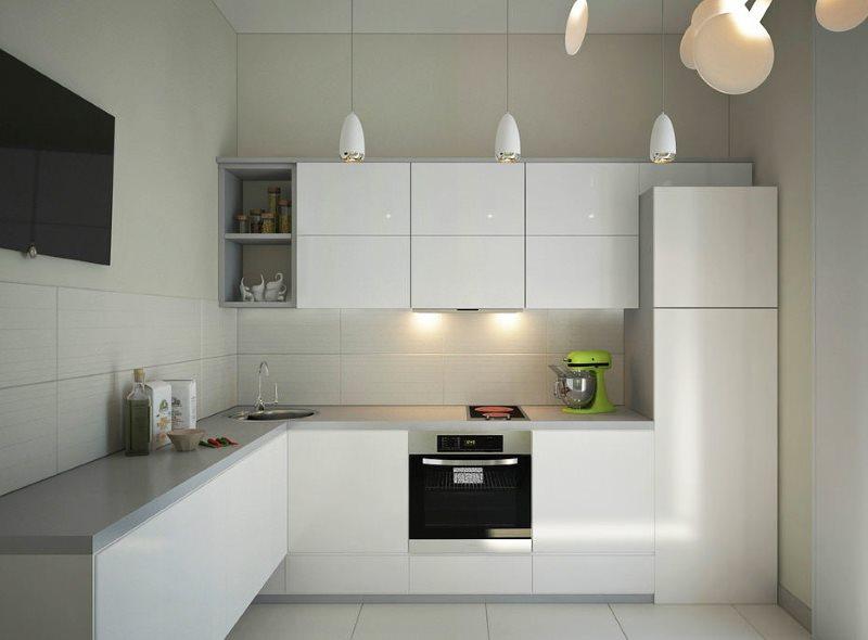 Угловая кухня в стиле минимализма с гладкими фасадами