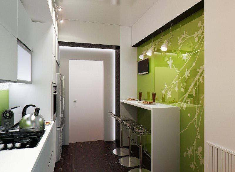 Узкая барная стойка вдоль стены кухни в хрущевке