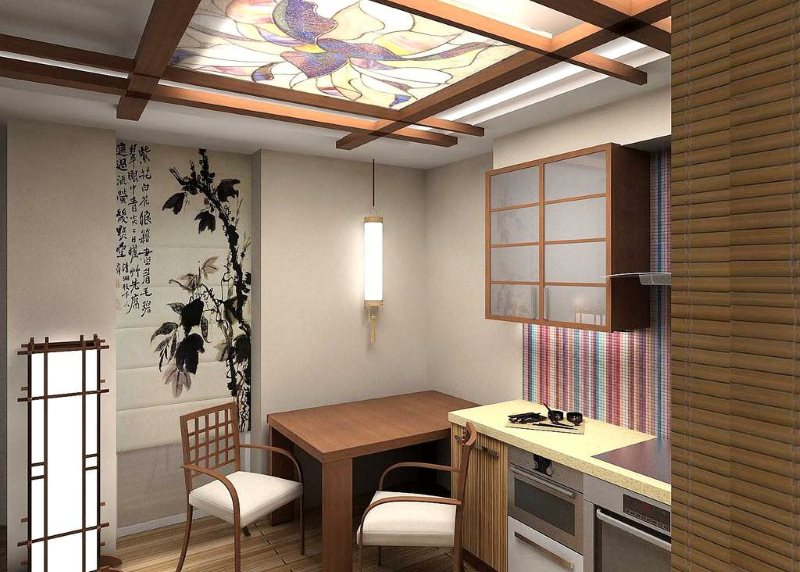 Дизайн компактной кухни в японском стиле