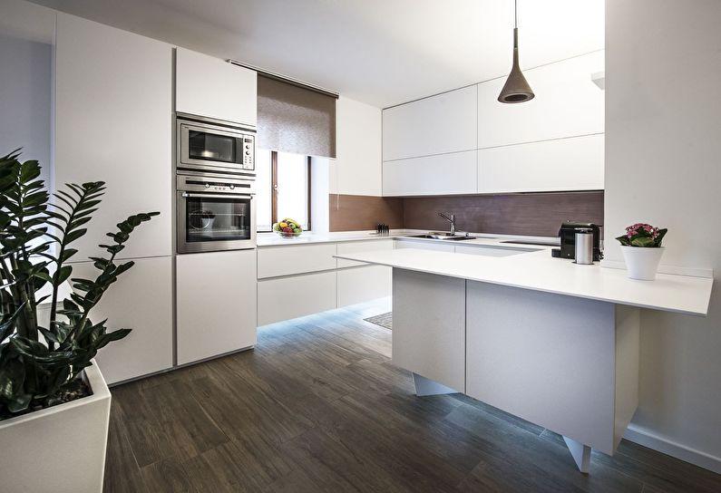 Дизайн современной кухни с гладкими фасадами